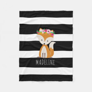 Boho Fox Stripes Girls Fleece Blanket