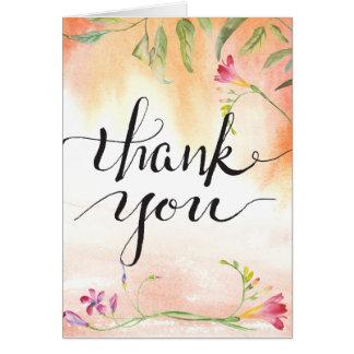Boho Freesia Pink Pop Calligraphy Thanks Card