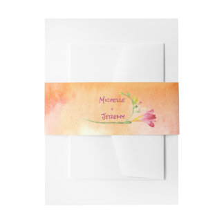 Boho Freesia Pink Pop Invitations Band Invitation Belly Band