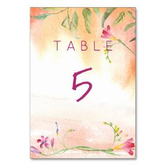 Boho Freesia Pink Pop Wedding Table Table Card