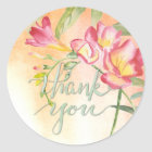 Boho Freesia with Calligraphy Thank You Classic Round Sticker