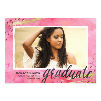Boho Glam Watercolor | Pink Photo Graduation Card