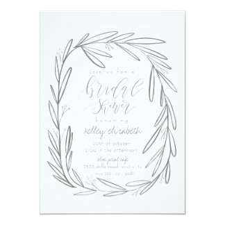 Boho gray bridal shower invitation card