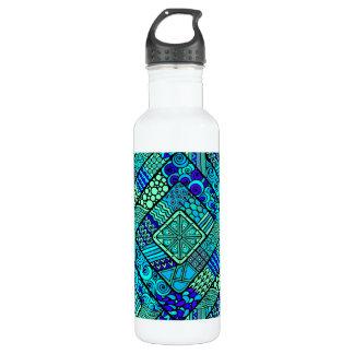 Boho Green blue abstract tribal pattern 710 Ml Water Bottle