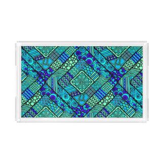 Boho Green blue abstract tribal pattern Acrylic Tray
