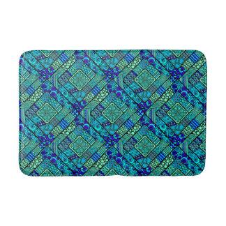 Boho Green blue abstract tribal pattern Bath Mat