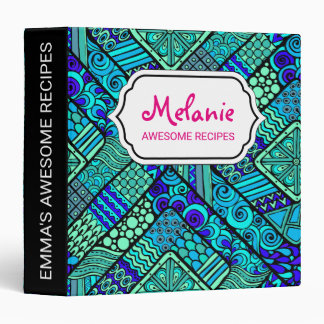Boho Green blue abstract tribal pattern Binder