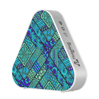 Boho Green blue abstract tribal pattern Blueooth Speaker