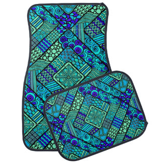 Boho Green blue abstract tribal pattern Car Mat