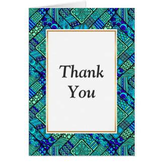 Boho Green blue abstract tribal pattern Card