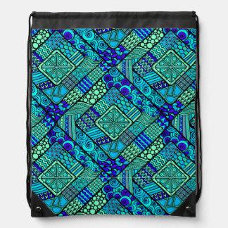 Boho Green blue abstract tribal pattern Drawstring Bag