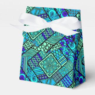 Boho Green blue abstract tribal pattern Favor Box