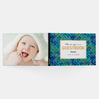 Boho Green blue abstract tribal pattern Guest Book