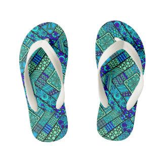 Boho Green blue abstract tribal pattern Kid's Flip Flops