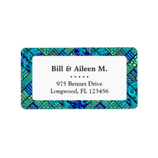 Boho Green blue abstract tribal pattern Label