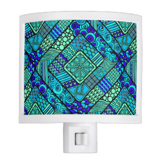 Boho Green blue abstract tribal pattern Night Lites