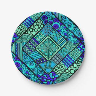 Boho Green blue abstract tribal pattern Paper Plate