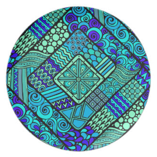 Boho Green blue abstract tribal pattern Plate