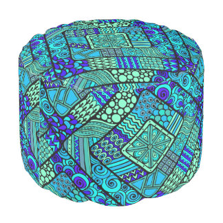 Boho Green blue abstract tribal pattern Pouf