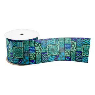 Boho Green blue abstract tribal pattern Satin Ribbon