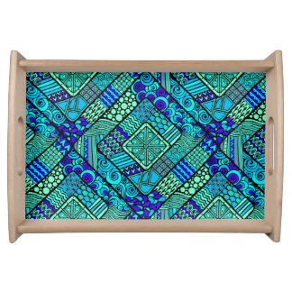 Boho Green blue abstract tribal pattern Serving Tray