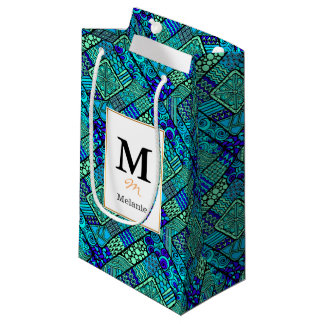 Boho Green blue abstract tribal pattern Small Gift Bag