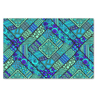 Boho Green blue abstract tribal pattern Tissue Paper