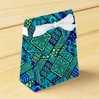 Boho Green blue abstract tribal pattern Wedding Favor Box
