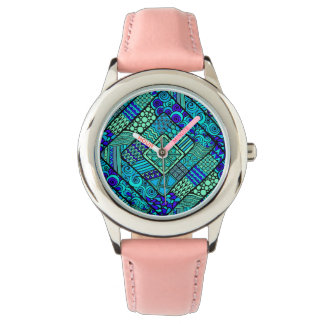 Boho Green blue abstract tribal pattern Wrist Watches