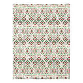 Boho green red Duvet Cover