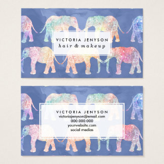 Boho hand drawn paisley tribal elephants pattern business card