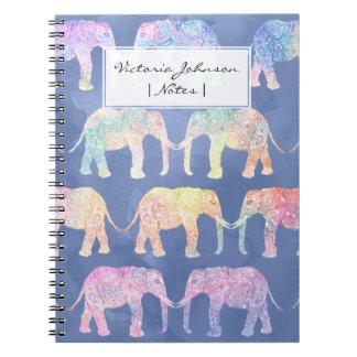 Boho hand drawn paisley tribal elephants pattern notebooks