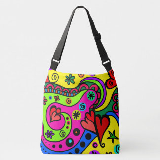 Boho Hippie Colorful Psychedelic Design Hearts Crossbody Bag