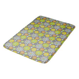 Boho Hippie Grey/Green/Yel/Orange Daisies on Grey Bathroom Mat