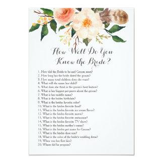 Boho How well do you know the bride? Card