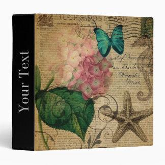 boho Hydrangea butterfly starfish French Botanical Vinyl Binder