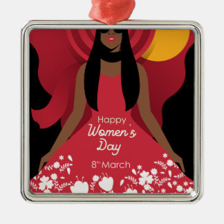boho international womens day metal ornament