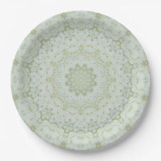 Boho Ivory and White Rose Mandala Floral Paper Plate