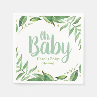 Boho Leaves Personalized Baby Shower Paper Napkin