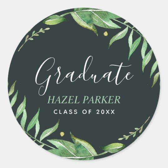 Boho Leaves Personalized Graduation Classic Round Sticker