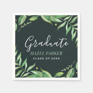 Boho Leaves Personalized Graduation Napkin