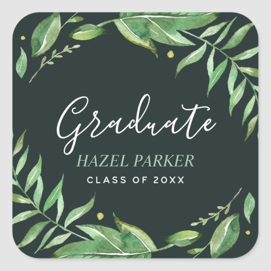 Boho Leaves Personalized Graduation Square Sticker