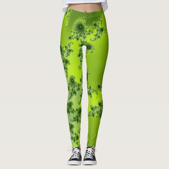 Boho Lime Green Spiral Fractal Art Leggings