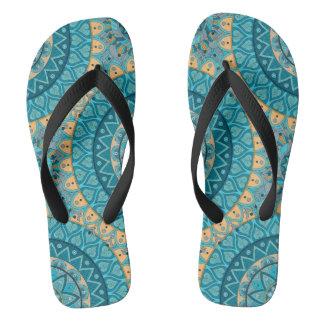 Boho mandala abstract pattern design flip flops