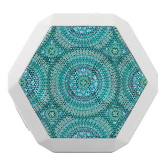 Boho mandala abstract pattern design white bluetooth speaker
