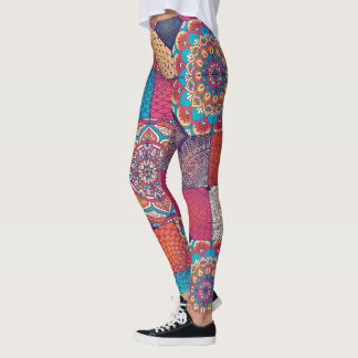 Boho mandala ornament colorful patchy pattern leggings
