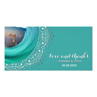 Boho Mandala Silver Teal | Wedding Thank You Card