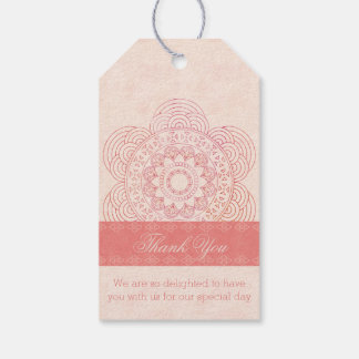 Boho Mandala Thank You Tags for Wedding Favor Bags Pack Of Gift Tags