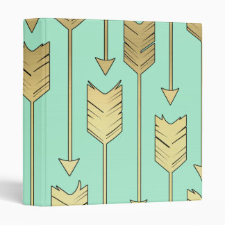 Boho Mint and Faux Gold Arrows Pattern 3 Ring Binders