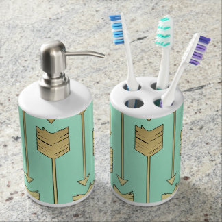 Boho Mint and Faux Gold Arrows Pattern Bathroom Set